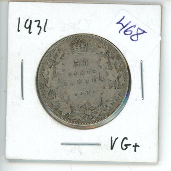 1931 Canadian 50 Cent Coin