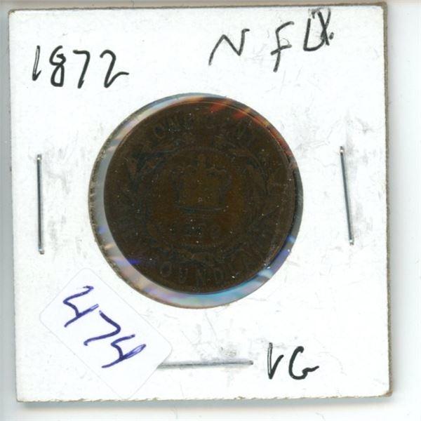 1872 Newfoundland 1 Cent Coin