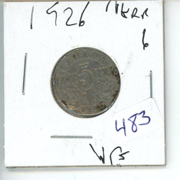 1926 Canadian 5 Cent Coin