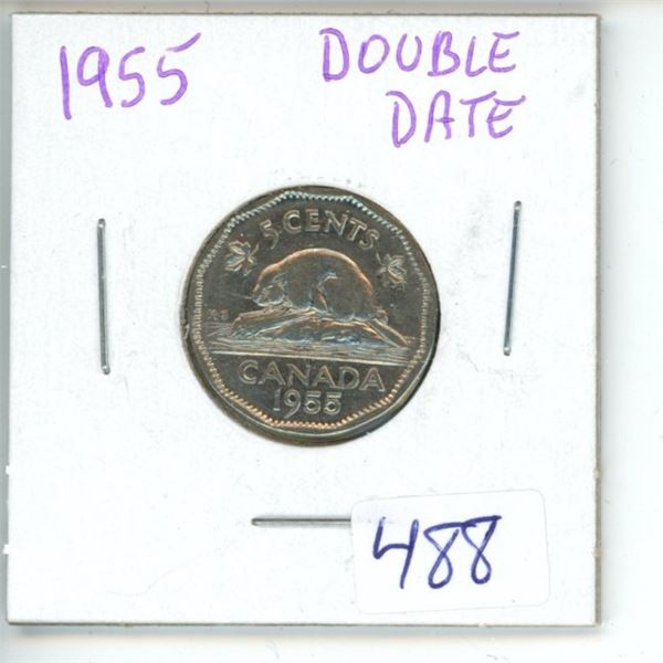1955 Canadian 5 Cent Coin