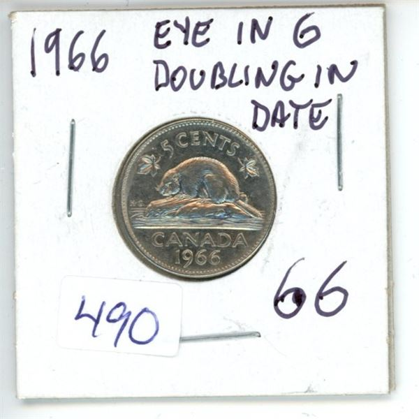 1966 Canadian 5 Cent Coin
