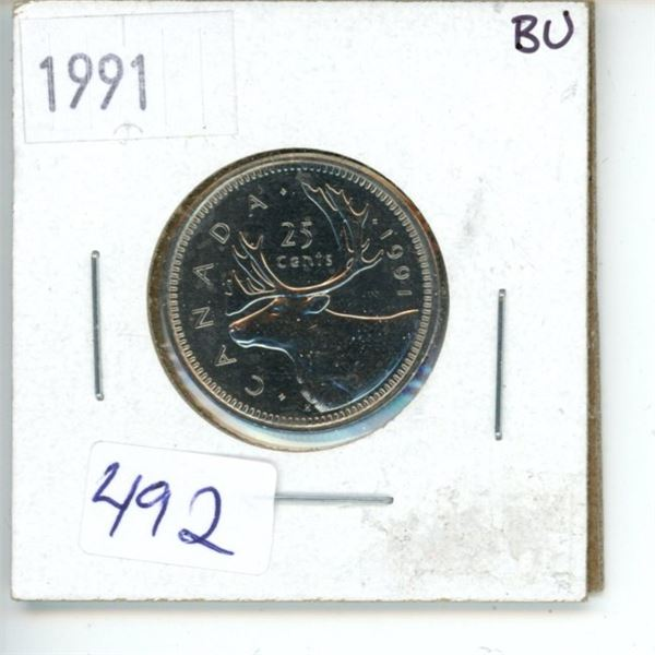 1991 Canadian 25 Cent Coin