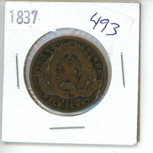 1837 Canadian Half Penny Bank Token - Upper Canada