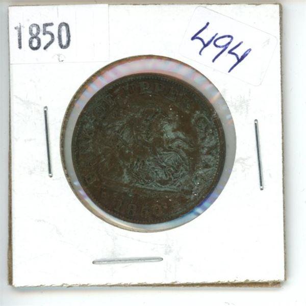 1850 Canadian Half Penny Bank Token - Upper Canada