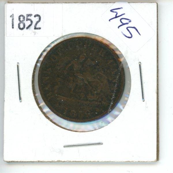 1852 Canadian Half Penny Bank Token - Upper Canada