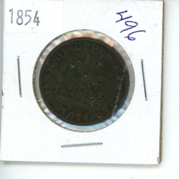 1854 Canadian Half Penny Bank Token - Upper Canada