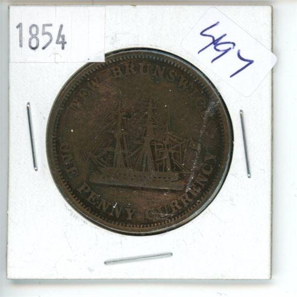 1854 New Brunswick Half Penny Coin