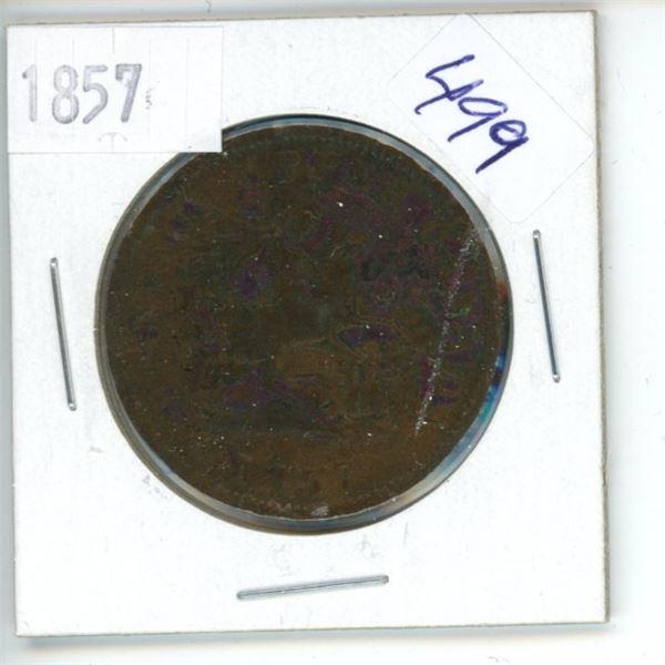 1857 Canadian Half Penny Bank Token - Upper Canada