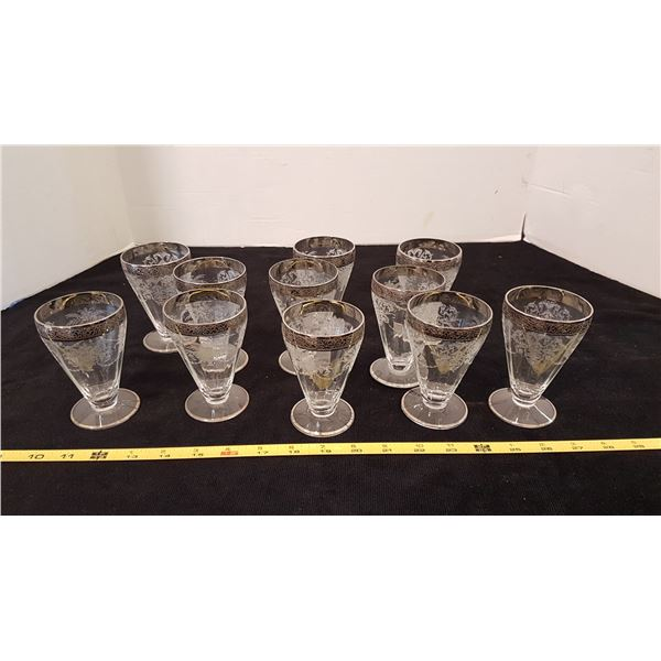 Set of 11 Inlaid Goblets