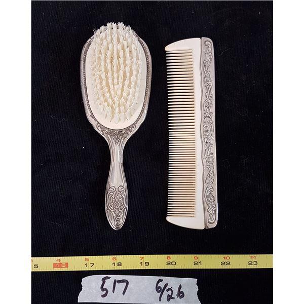 Silver Plated Dresser Set / Comb & Brush