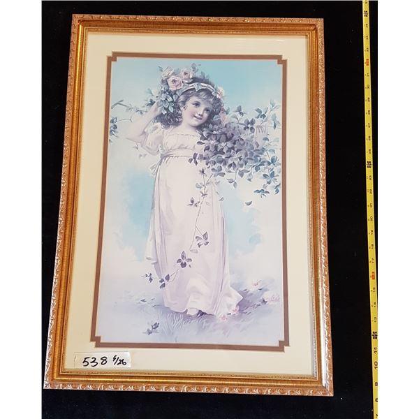 Print in Frame Girl & Flowers