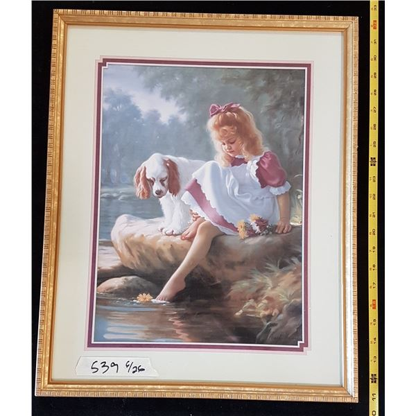 Print in Frame Girl & Dog By Water