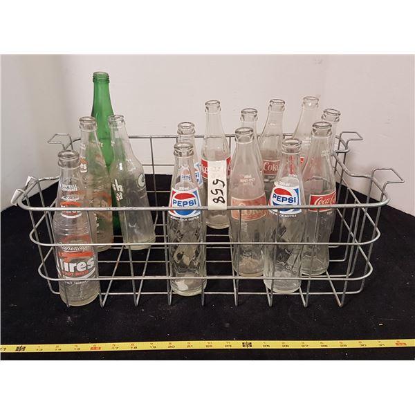 Lot Vintage Pop Bottles & Carrier