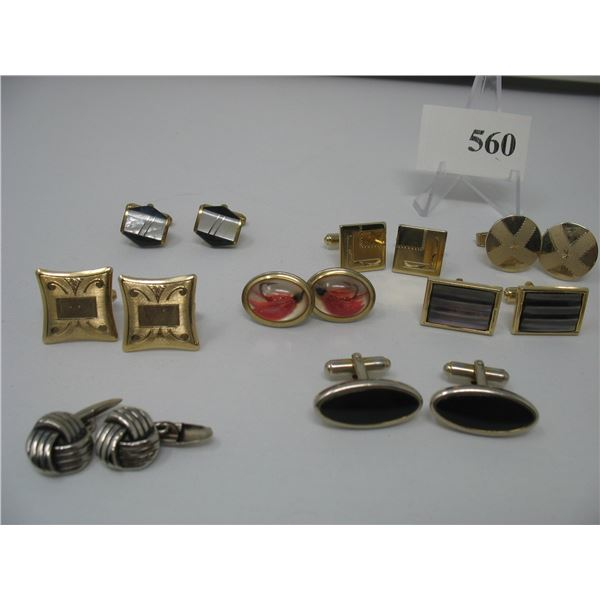 Cuff Links and Tie Bars (13 Matching Cuff Links) -  Plus Some Singles and Tie Bars