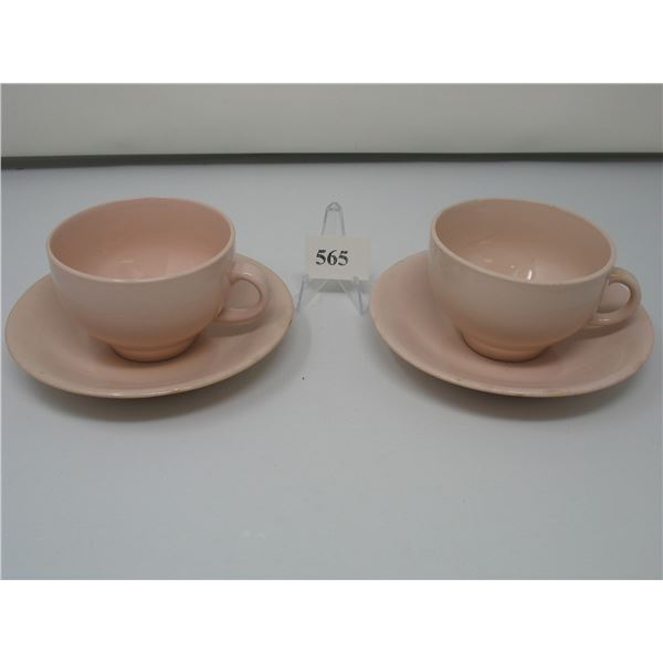 SET OF 4 PASTEL CUP & SAUCERS - Blue & Pink - Made in England - No Chips or Cracks