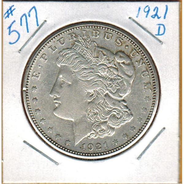 1921 D  UNITED STATES MORGAN SILVER DOLLAR