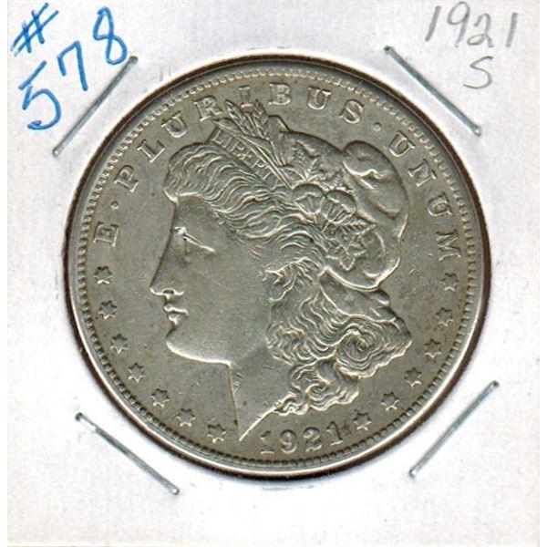 1921 S  UNITED STATES MORGAN SILVER DOLLAR