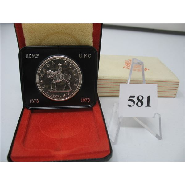 1973 CANADIAN CASED SILVER DOLLAR - ROYAL CANADIAN MOUNTED POLICE CENTENNIAL