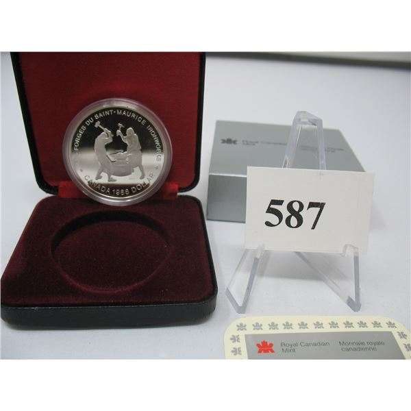 1988 CANADIAN CASED SILVER DOLLAR - SAINT-MAURICE IRONWORKS