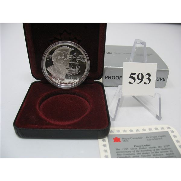 1995 CANADIAN CASED SILVER DOLLAR - 325th ANNIVERSARY - HUDSON'S BAY COMPANY