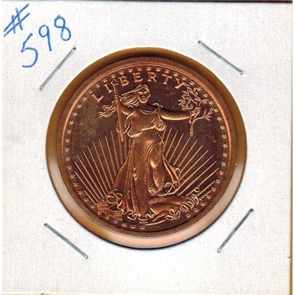1 OUNCE COPPER  .999 FINE - U.S. SAINT GAUDENS DESIGN