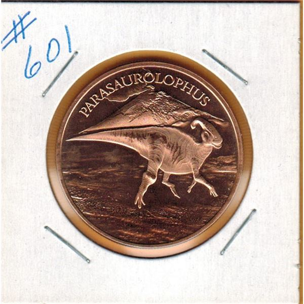 1 OUNCE COPPER  .999 FINE - DINOSAUR - PARASAUROLOPHUS