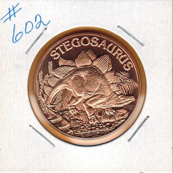 1 OUNCE COPPER  .999 FINE - DINOSAUR - STEGOSAURUS