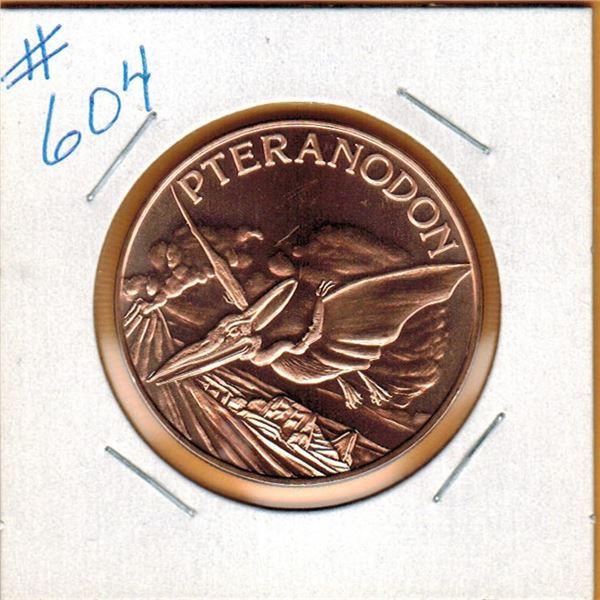 1 OUNCE COPPER  .999 FINE - DINOSAUR - PTERANODON