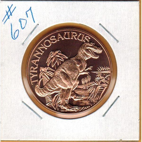 1 OUNCE COPPER  .999 FINE - DINOSAUR - TYRANNOSAURUS