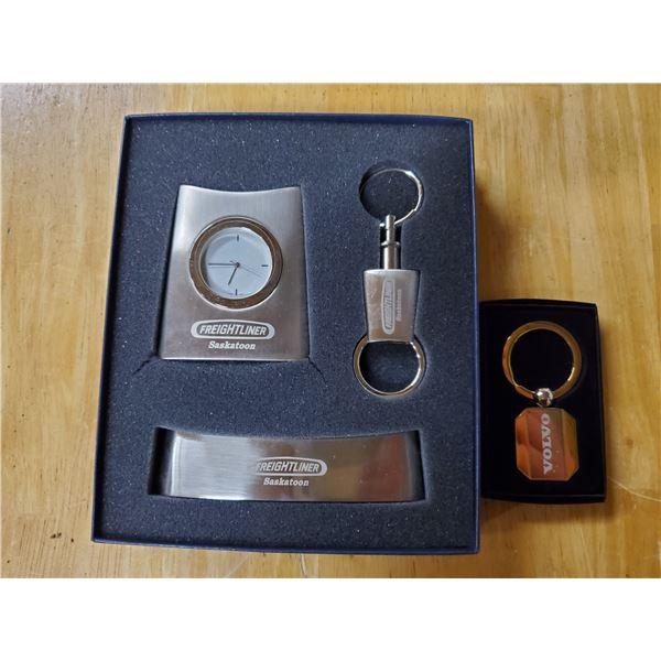 Freightliner clock, keychain, business card holder – new , and Volvo keychain