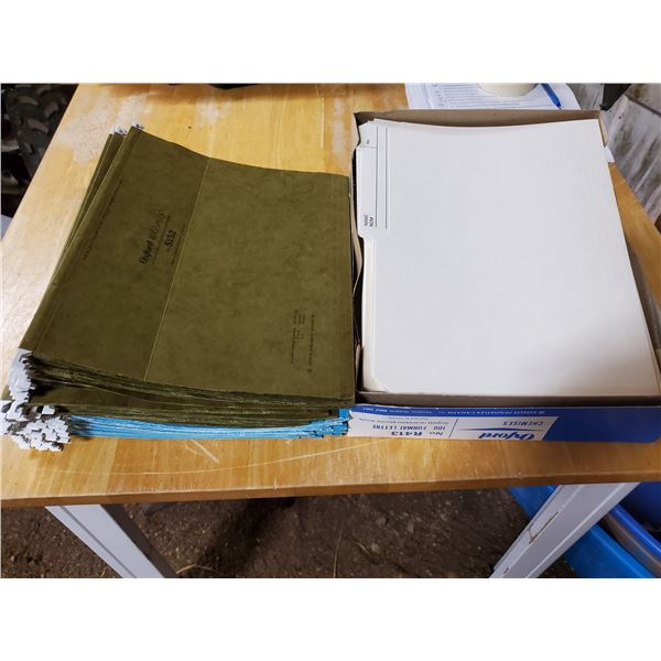 51 new and used hanging letter folders (green and blue) and 1 box of 74 oxford letter size folders (