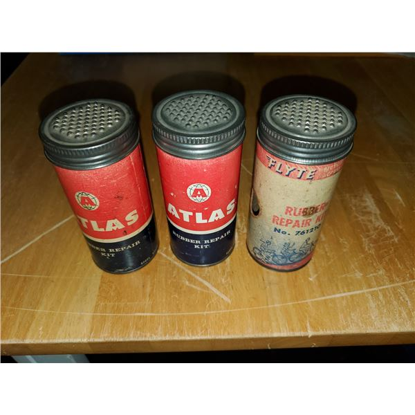 3 antique rubber repair tins (1 with items, 2 empty)