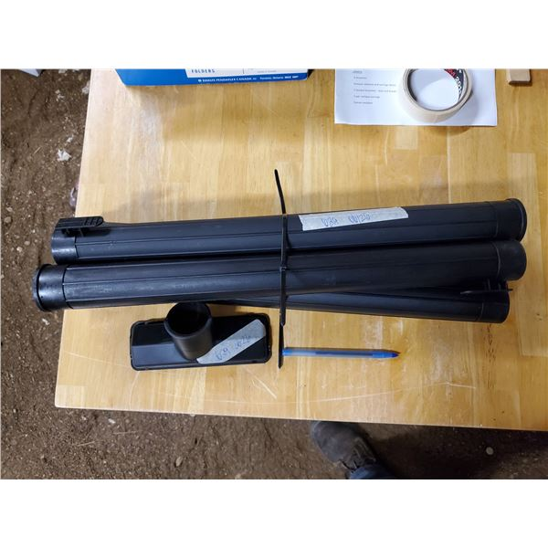 """4 -21 ½"""" x 1 ¾"""" sections of shop vac tubing with 7"""" floor tool"""