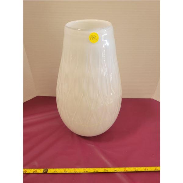 Huge White Blown Glass Vase