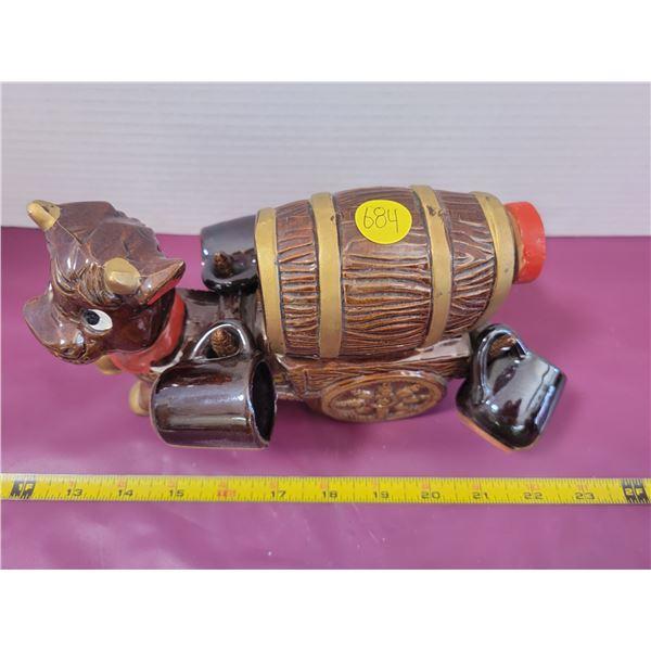 Vintage Donkey decanter with 4 shotglasses