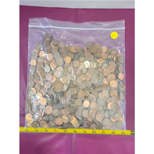 Huge Bag of Pennies (been throwing them in a jar for years-not sorted)