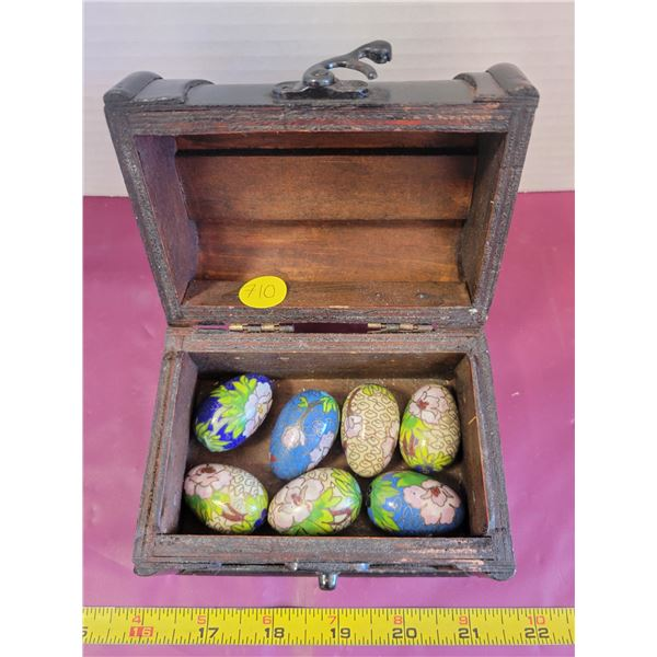 Chest full of decorated tiny eggs