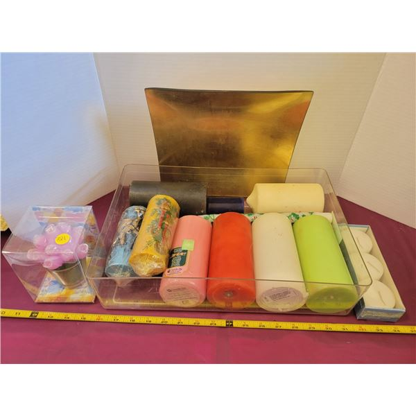 Huge box of mostly new candles