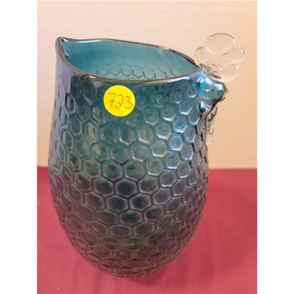 Teal Green Blown Glass Vase Rooster shaped top