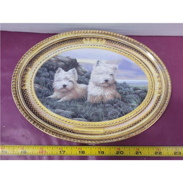 West Highland Terrier framed plate