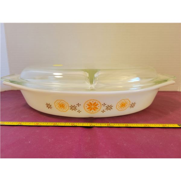 Vintage Pyrex Town & Country Divided Dish with Lid-very Rare