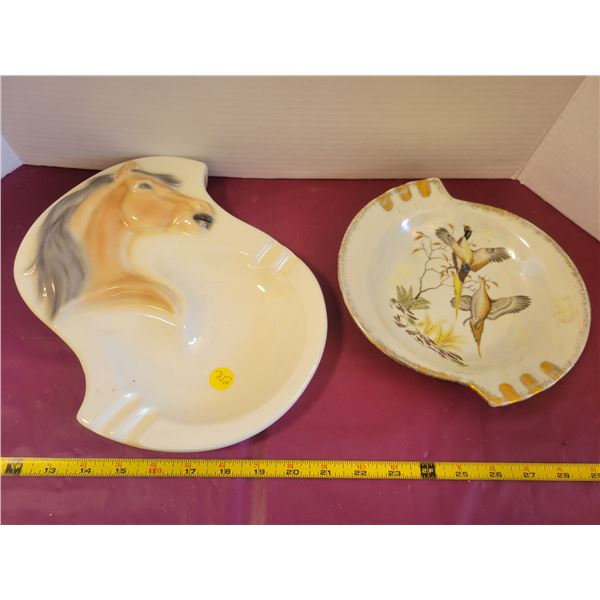 Vintage Horse & Duck ashtrays