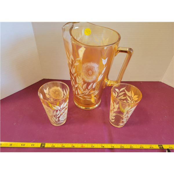 Jeanette Marigold Pitcher & 2 Glasses