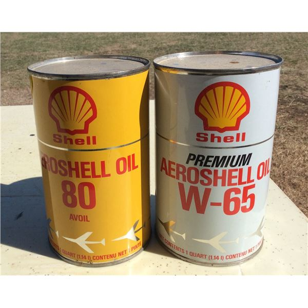 Two full Shell aviation oil Imperial quarts No dints
