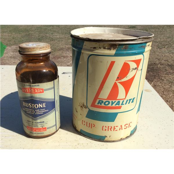 Royalties 10 lb cup grease tin. Empty. Wartime Everready Rustone