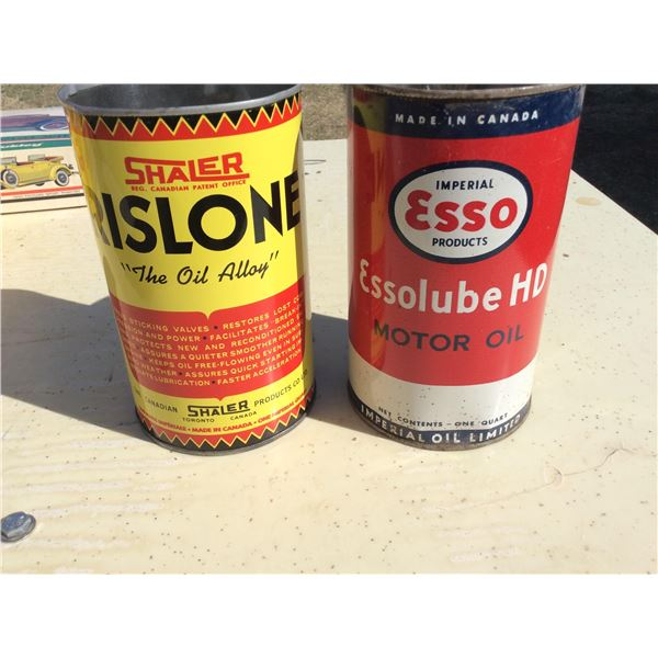 Two Imperial quart tins. Empty. ESSO and Shaler Ristone