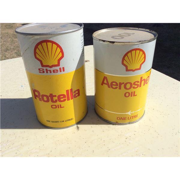 Two full Shell oil tins