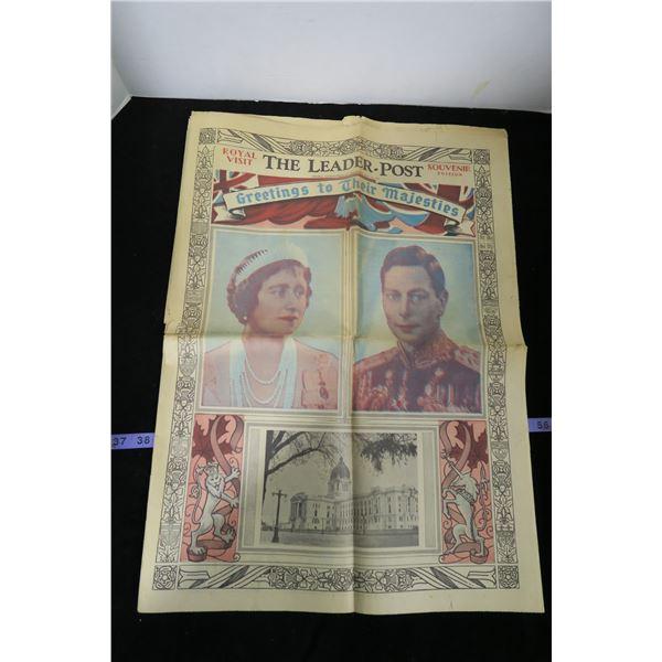 """The Leader Post, May 25 1939 """"Royal Visit"""""""