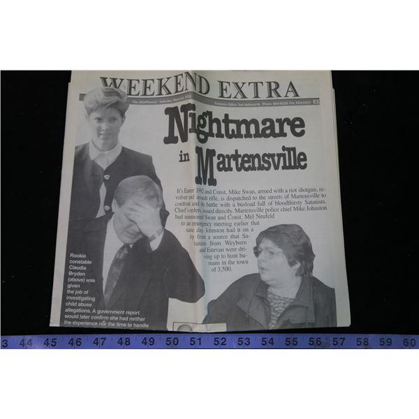 """Saskatoon Star Phoenix Weekend Edition March 24 2001 """" Nightmare in Martensville"""""""