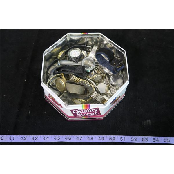 Tin w/ Misc. Watches & Watch Parts